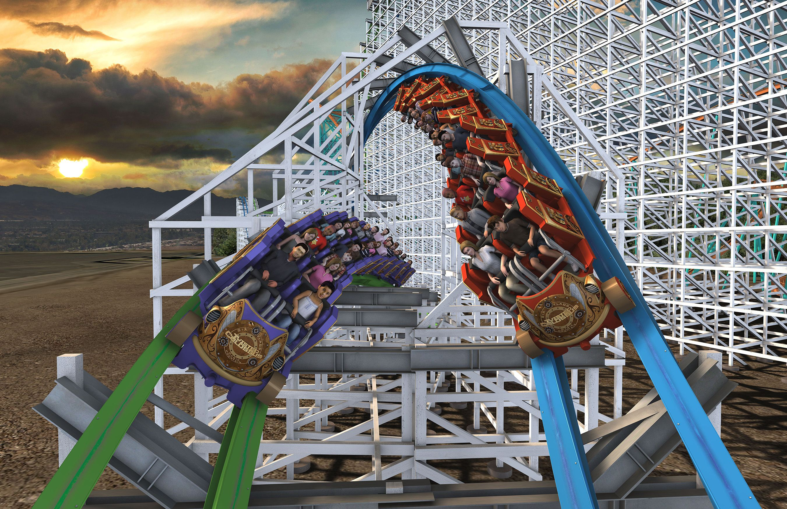 Six Flags Magic Mountain Announces Record Breaking Coaster Twisted Colossus Iconic Woodie Returns For 2 New Roller Coaster Roller Coaster Water Theme Park