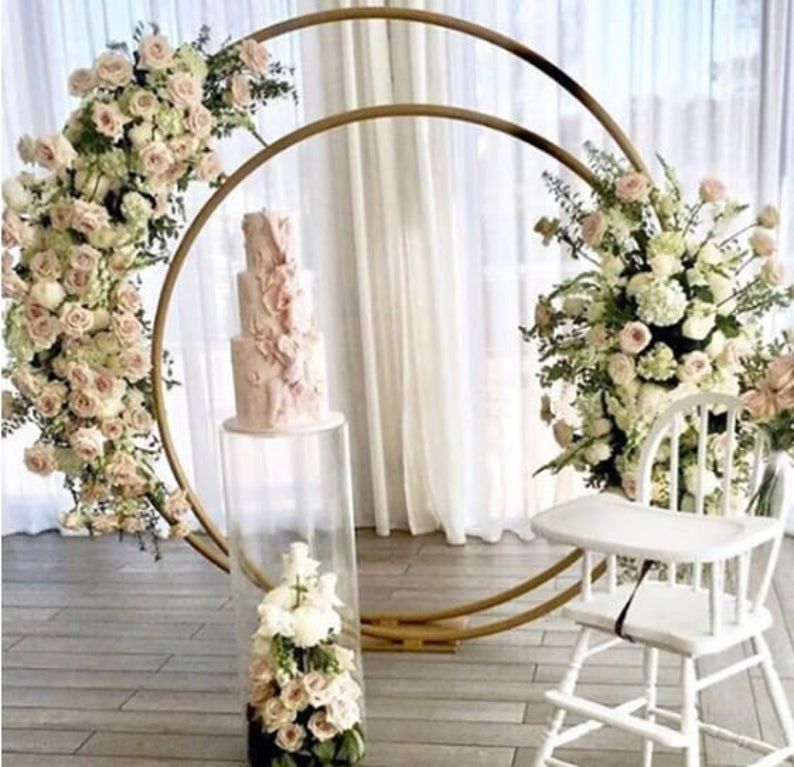 Double circle wedding arch ceremony backdrop floral metal