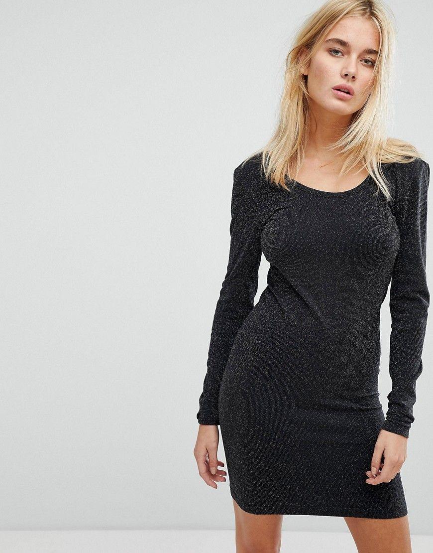 noisy may - langärmliges, glitzerndes minikleid - schwarz