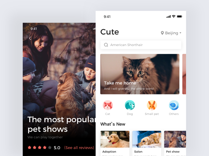Home Page Of Adoption App App Design Pets Mobile Web Design