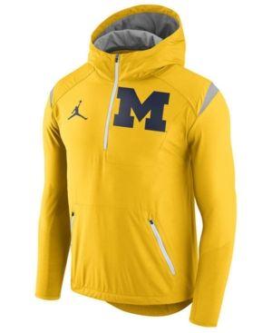 detailed look b814b b3a18 Nike Men s Michigan Wolverines Fly-Rush Quarter-Zip Hoodie - Yellow XXL