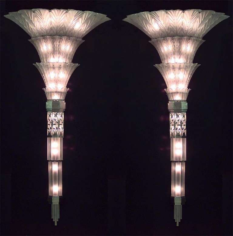Pair Of French Art Deco Glass Sconces By Sabino Modern Wall Lightsart