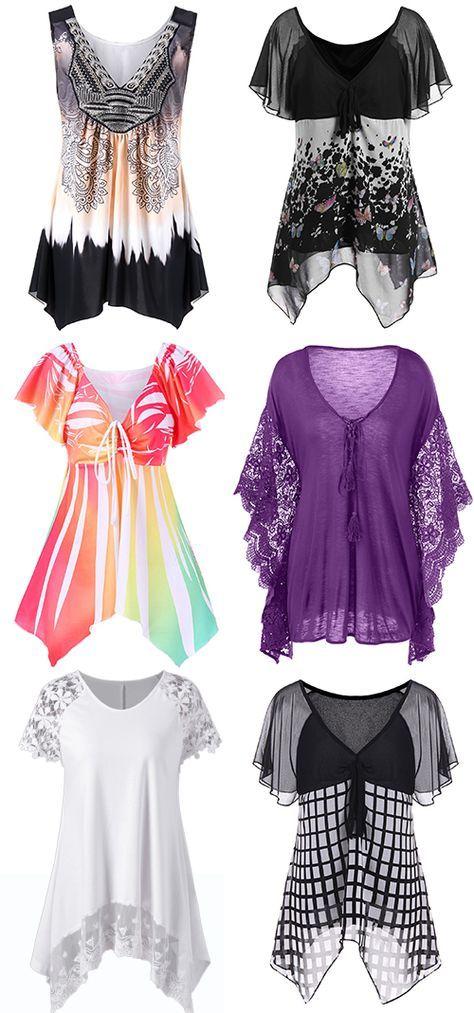 Dress Lily App Plus Size Ombre Asymmetric Tank Top Fashion