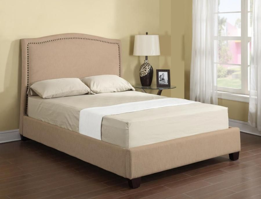 Emerald Home Furnishing Llc Abigail Upholstered Bed Queen 1 Natural ...