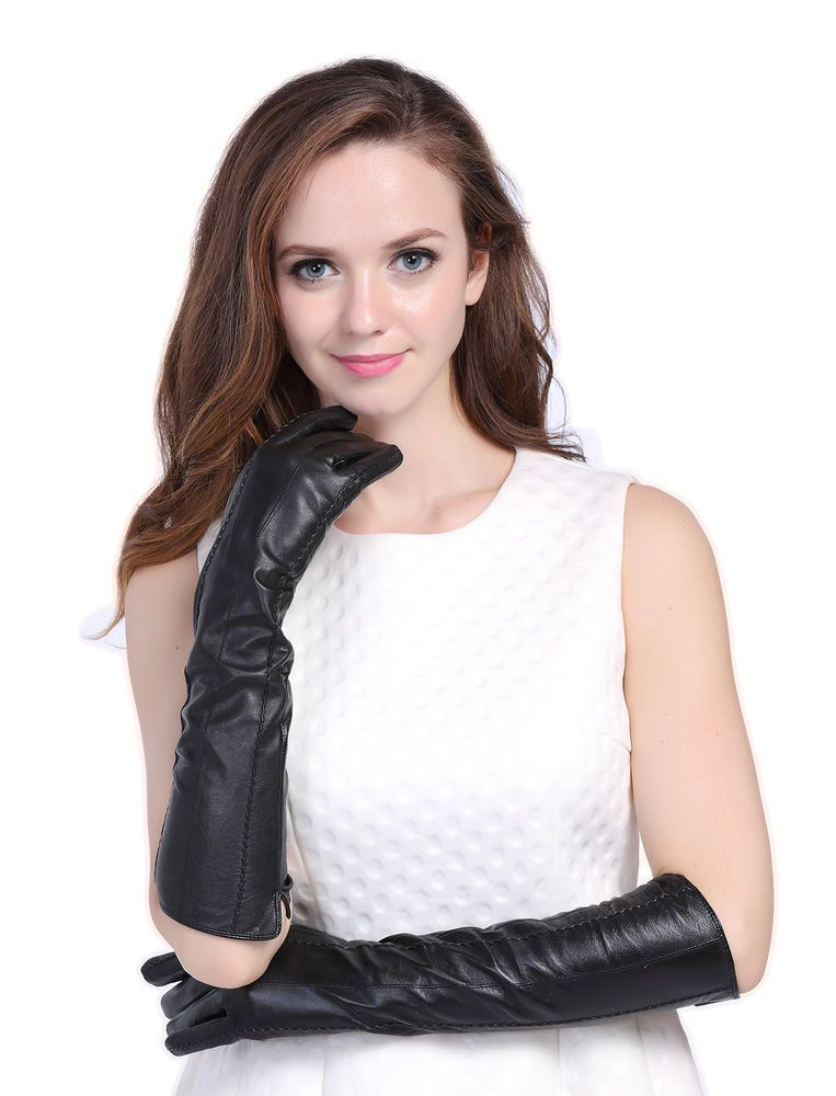 010S-US Black Nappa Leather Opera Wedding Bridal Evening Party Long Gloves S #InlnDtor #EveningGloves #Appointmentsleisureoperapartyandformal