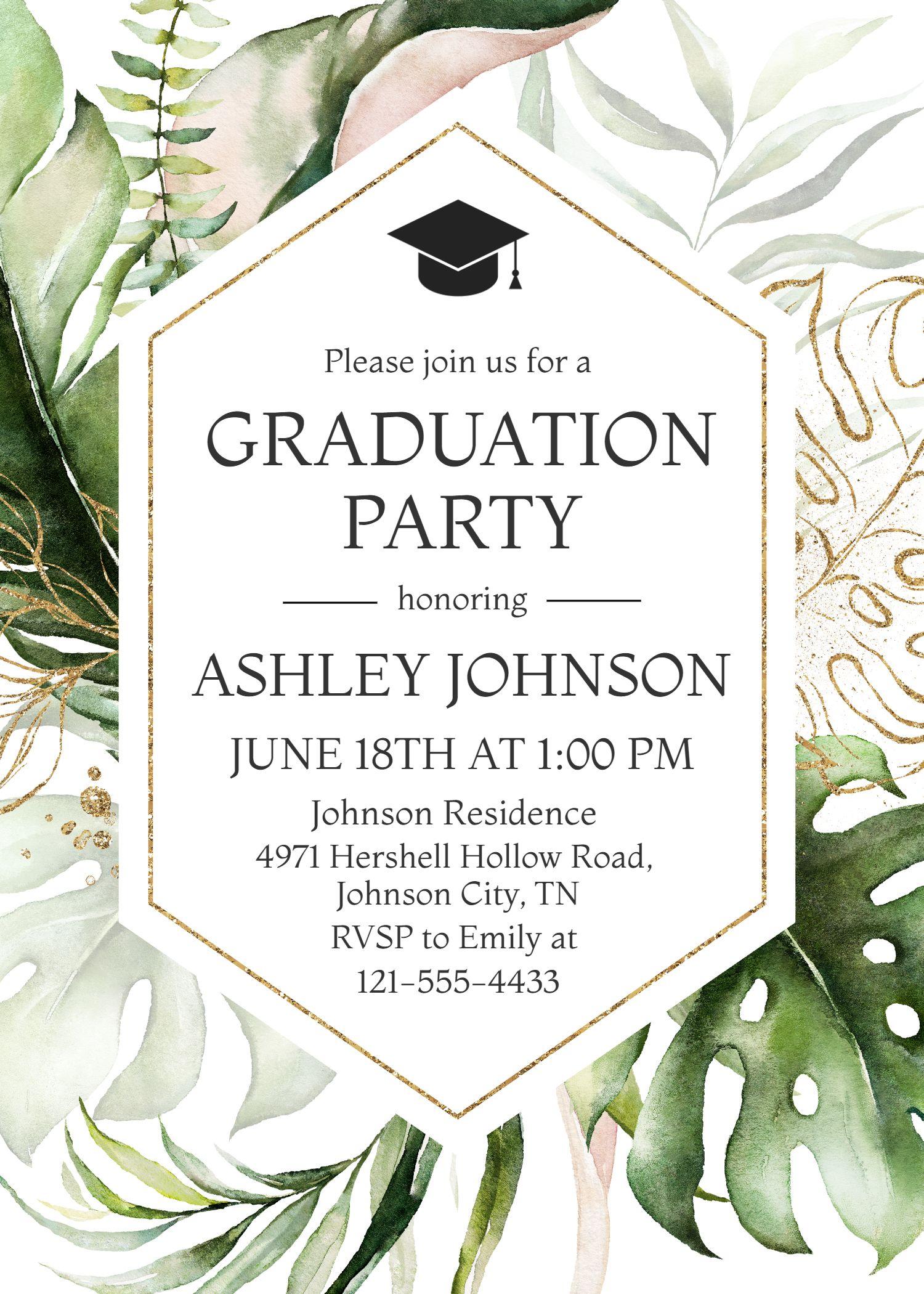Lush Graduation Invitation Template, Greenery Grad
