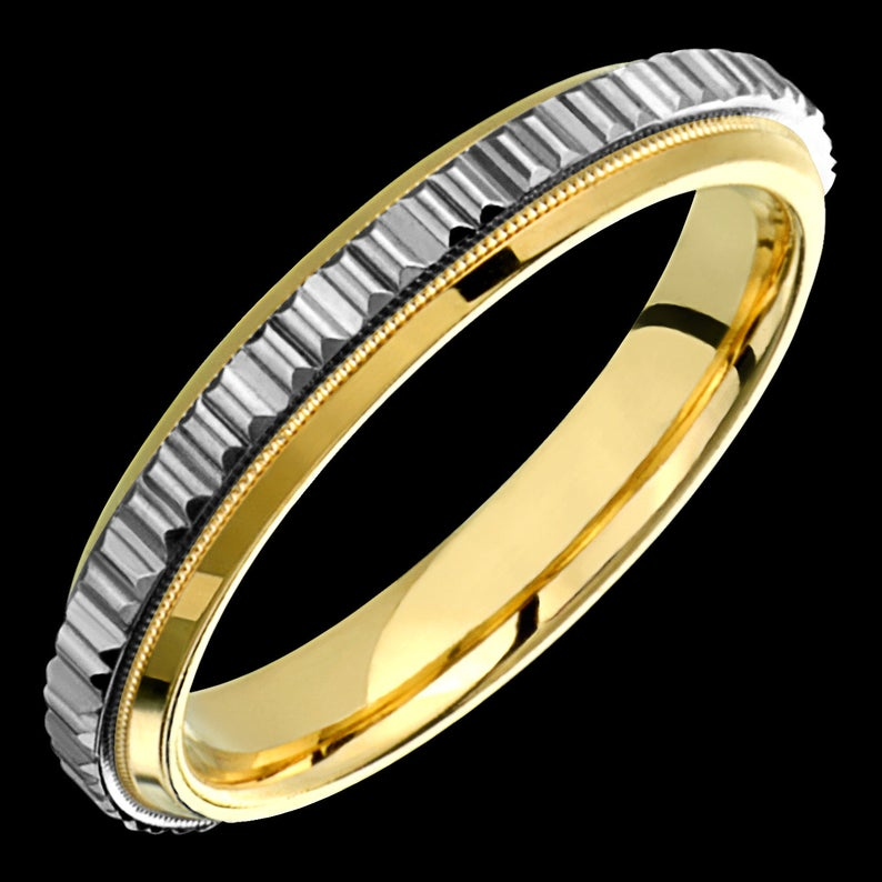 Mens Womens 4mm TwoTone Comfort Fit 10K Solid Gold (not