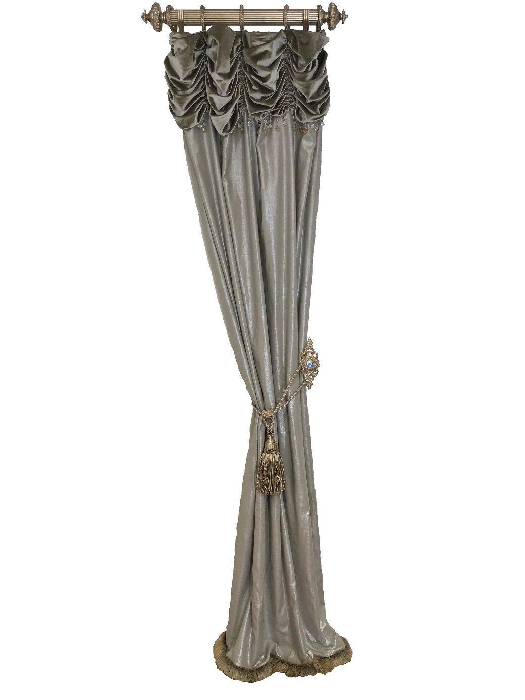 Luxury curtain panel style metallic grey linen decor in