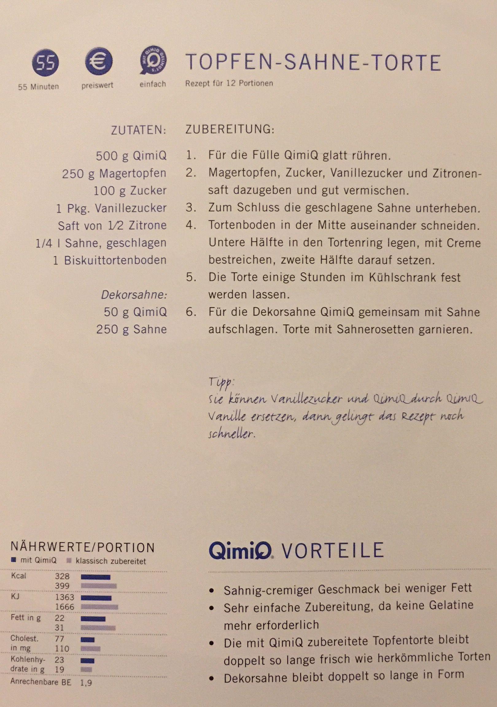 Topfen-Sahne-Torte | 25. Essen-QimiQ-Rezepte | Pinterest