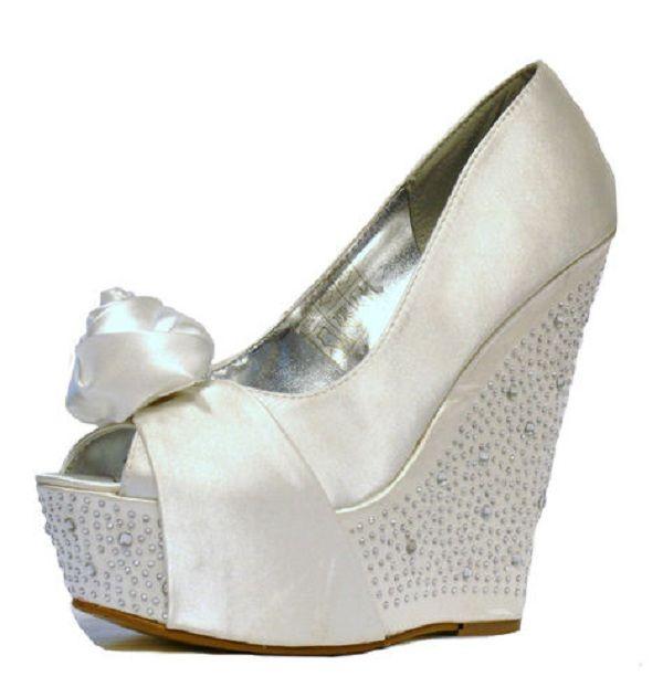 ivory satin diamante wedge wedding shoes wedding shoes by perditas