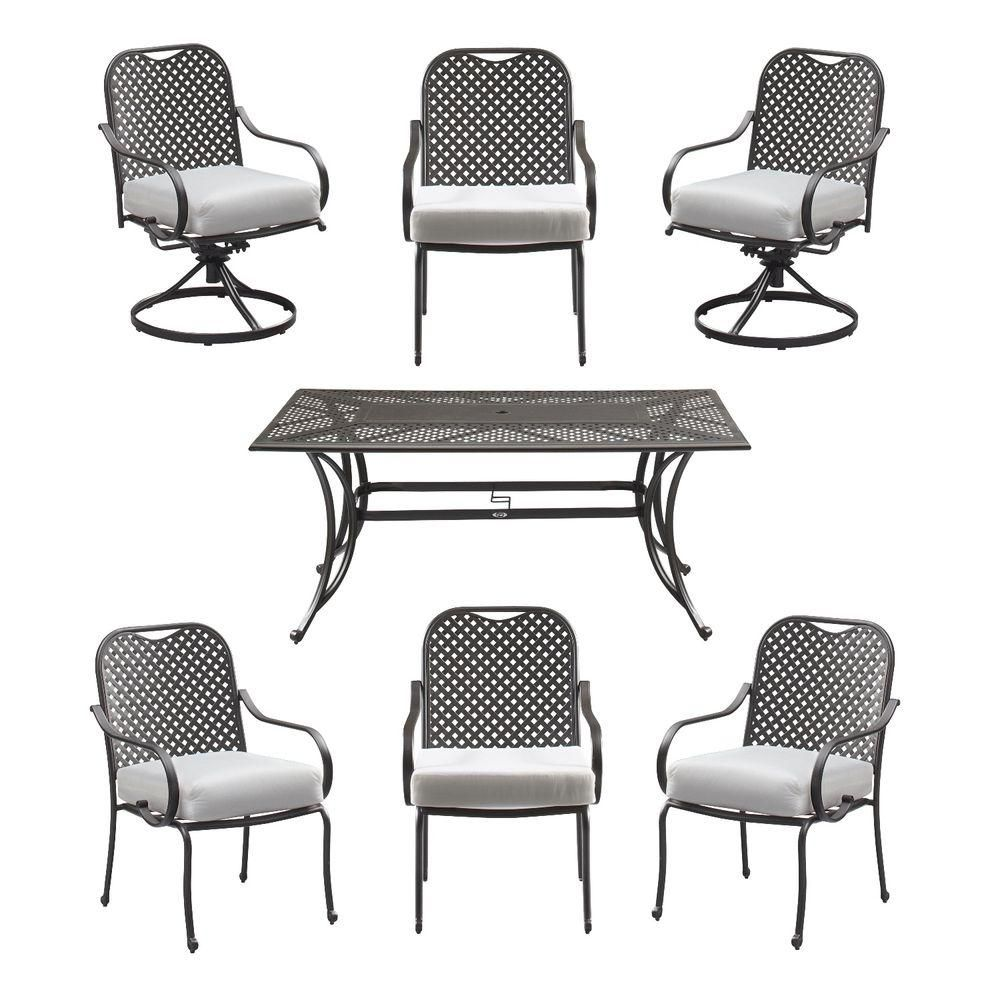 How to make seat cushions for dining chairs moreover white resin - Hampton Bay Fall River 7 Piece Patio Dining Set With Cushion Insert Slipcovers Sold