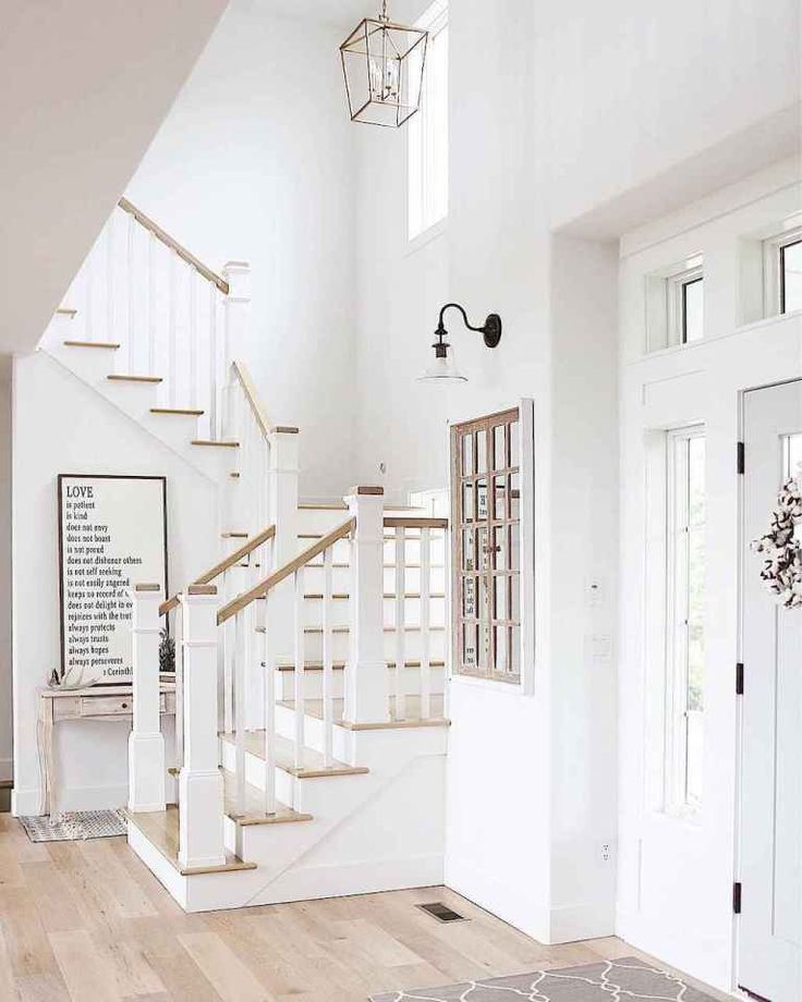 80 Modern Farmhouse Staircase Decor Ideas: 80 Modern Farmhouse Staircase Decor Ideas (71