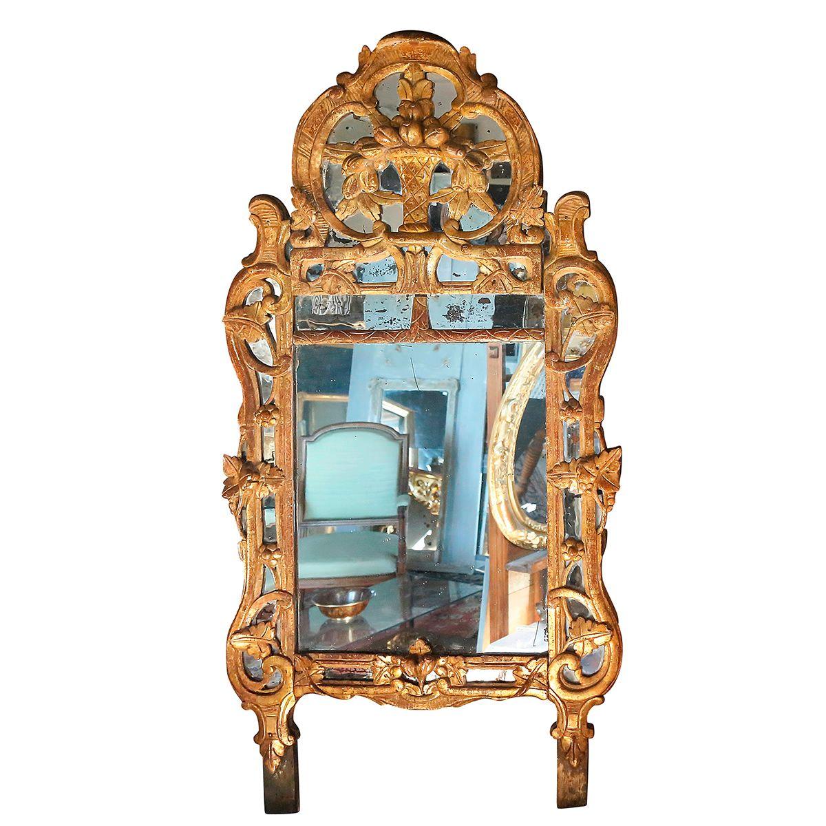 Miroir provençal dit de « Beaucaire » XVIIIème # Véran Clément @ www.antiquitesenprovence.com