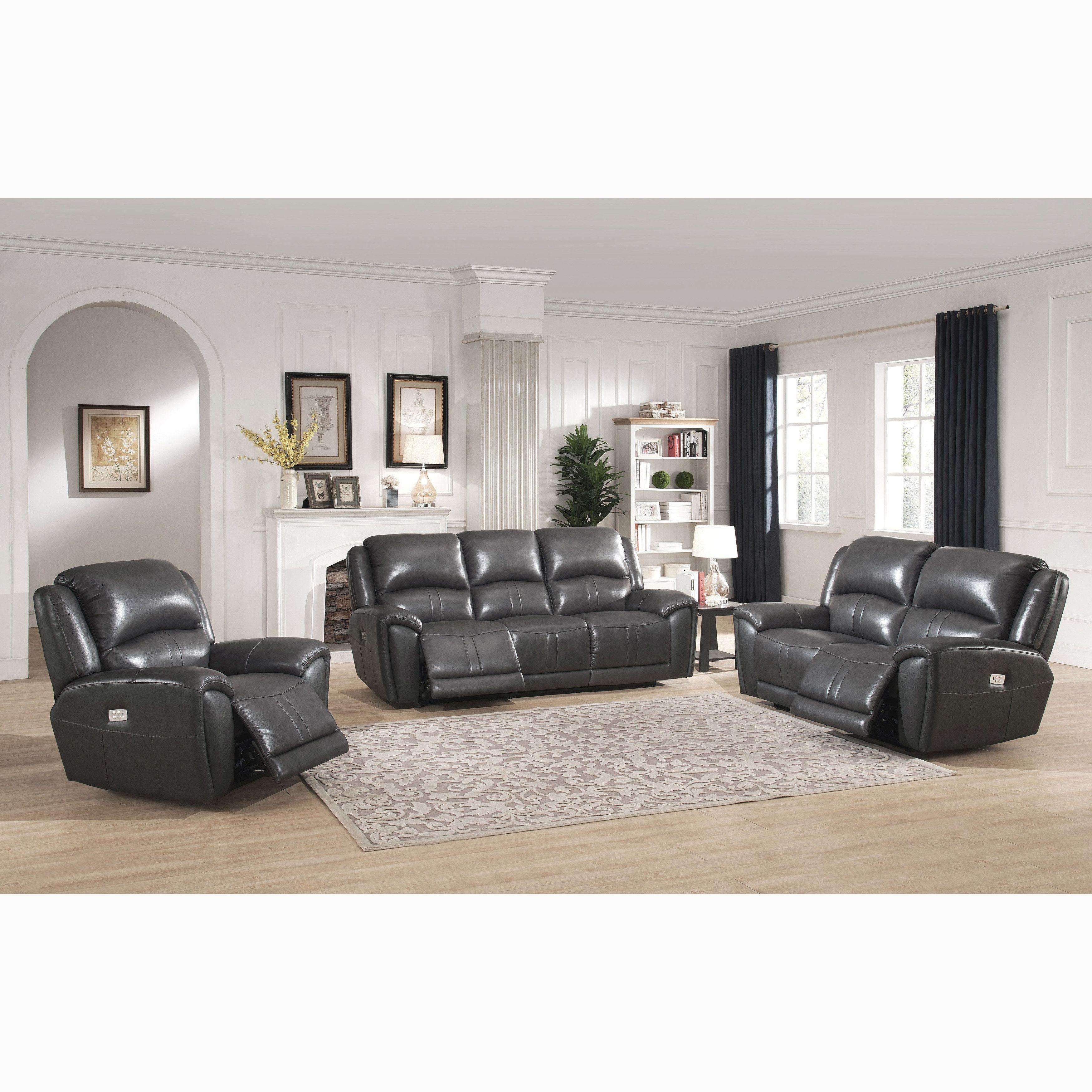 Ari Grey Top Grain Leather Power Reclining Sofa Loveseat And  ~ Individual Recliner Sofa