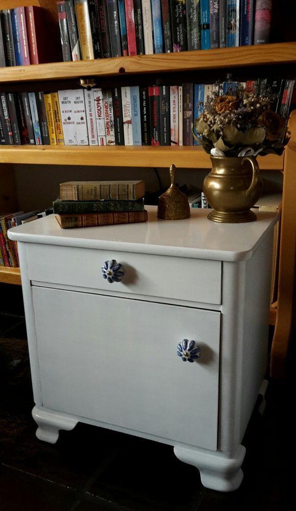 Nachtkästchen Nachttisch Kommode Shabby Chic Vintage Antik eBay - chippendale wohnzimmer weis