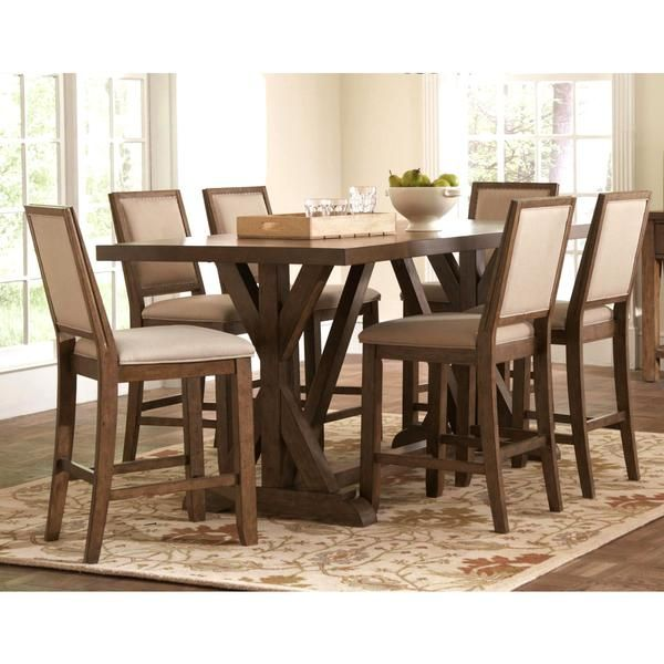 Sontuoso Rustic Trestle Base European Design Counter Height 7 Piece Dining  Set | For The Home | Pinterest | Dining, Rustic Style And Barn Doors