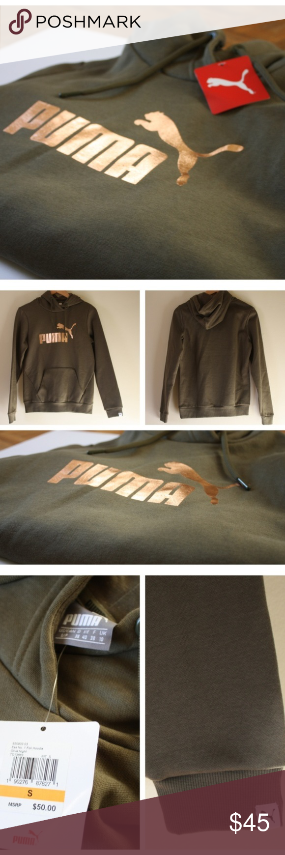 Puma Olive GreenRose Gold Foil Hoodie Small NWT Details