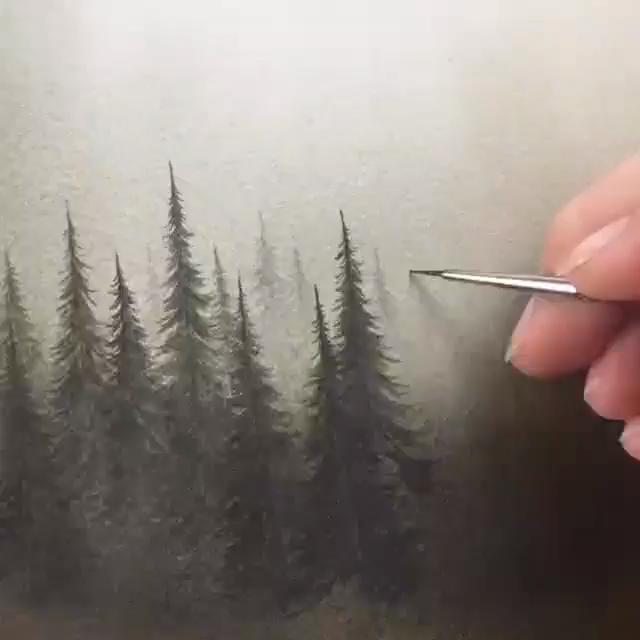 Misty Forests Watercolor Tutorial