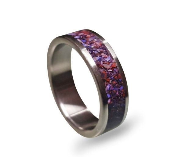 Men S Anium Ring With Purple Crushed Amethyst Inlay Wedding Band Stone