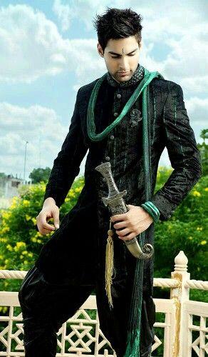 Image result for green into black brocade sherwani