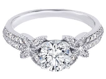 Engagement Ring   Butterfly Diamond Engagement Ring In 14K White Gold    ES1191BRWG Gallery