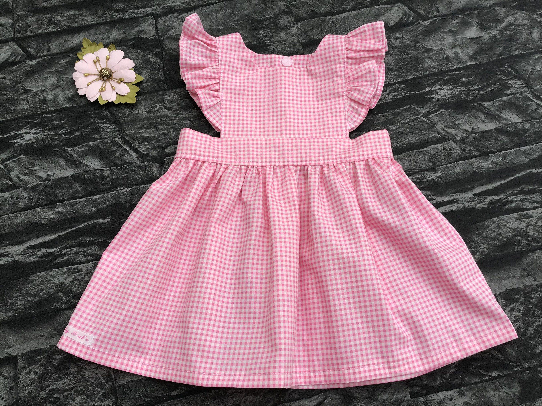 White Gingham Pinny Dress NEW Baby Girls Pink Headband /& Knickers 6-9 month