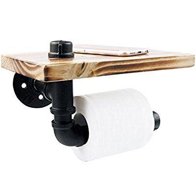 Toilet Paper Holder, Rustic Style Toilet Tissue Roll Holder Black