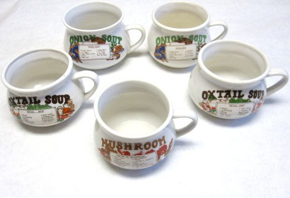 Vintage Soup Cups Large Handled Recipe Bowl By Sweetie2sweetie 19 99 Stuffed Mushrooms Bowls Recipe Soup