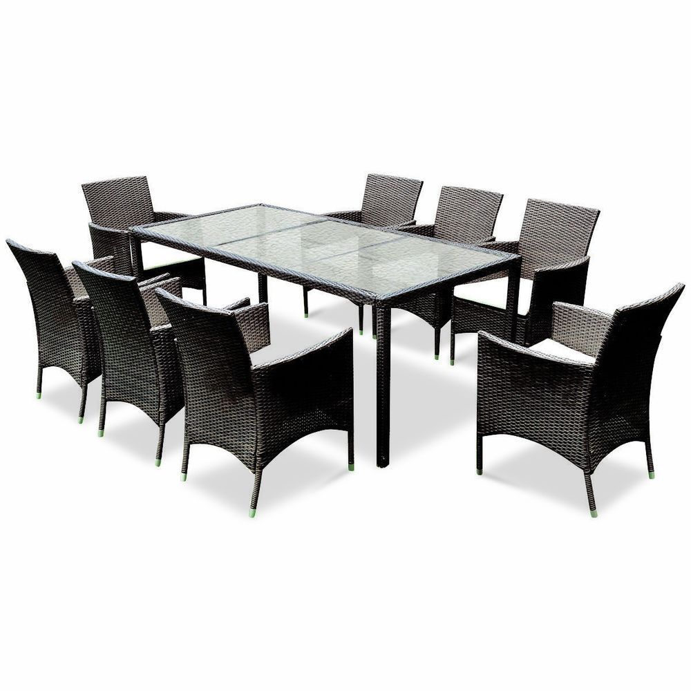 Large Outdoor Patio 8 Seat Wicker Chairs Glass Table Top Garden