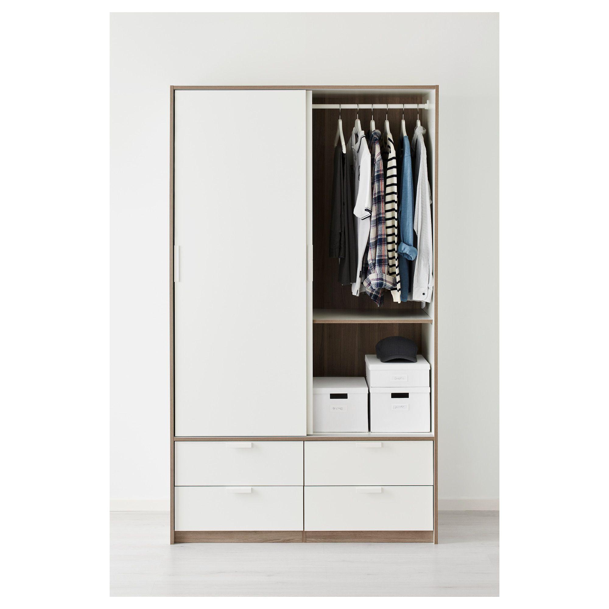 Trysil Wardrobe W Sliding Doors4 Drawers White Ikea House Style