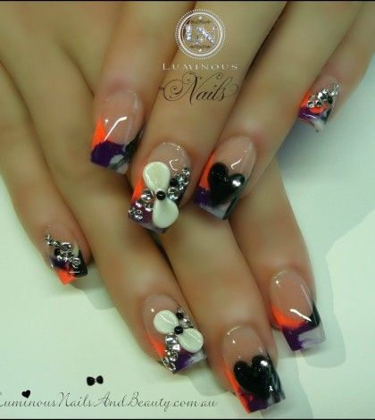Luminous Nails & Beauty, Gold Coast Queensland. Acrylic Nails, Gel Nails, Spray Tans. Sculptured Acrylic with Rainbow Black, White & purple, Neon Peach, 3D bows & hearts, & Crystals.