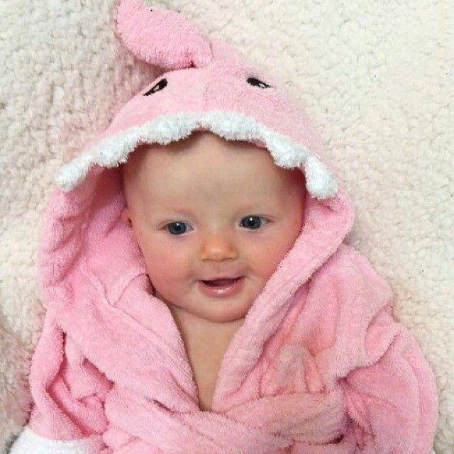 pretty in pink relaxing in her shark robe! #BabyAspen #BabyAspenGifts #SharkWeek #SharkRobe #PinkShark