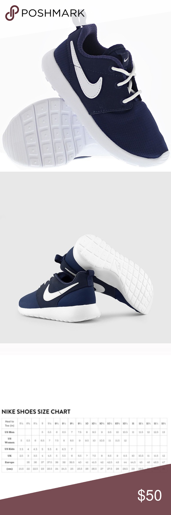 6ab90f4b1b108 Nike Roshe one navy blue white womens shoes new Brand new without box. Shoes  are a youth size 6.5 which is a women s size 8. I have added a Nike  conversion ...