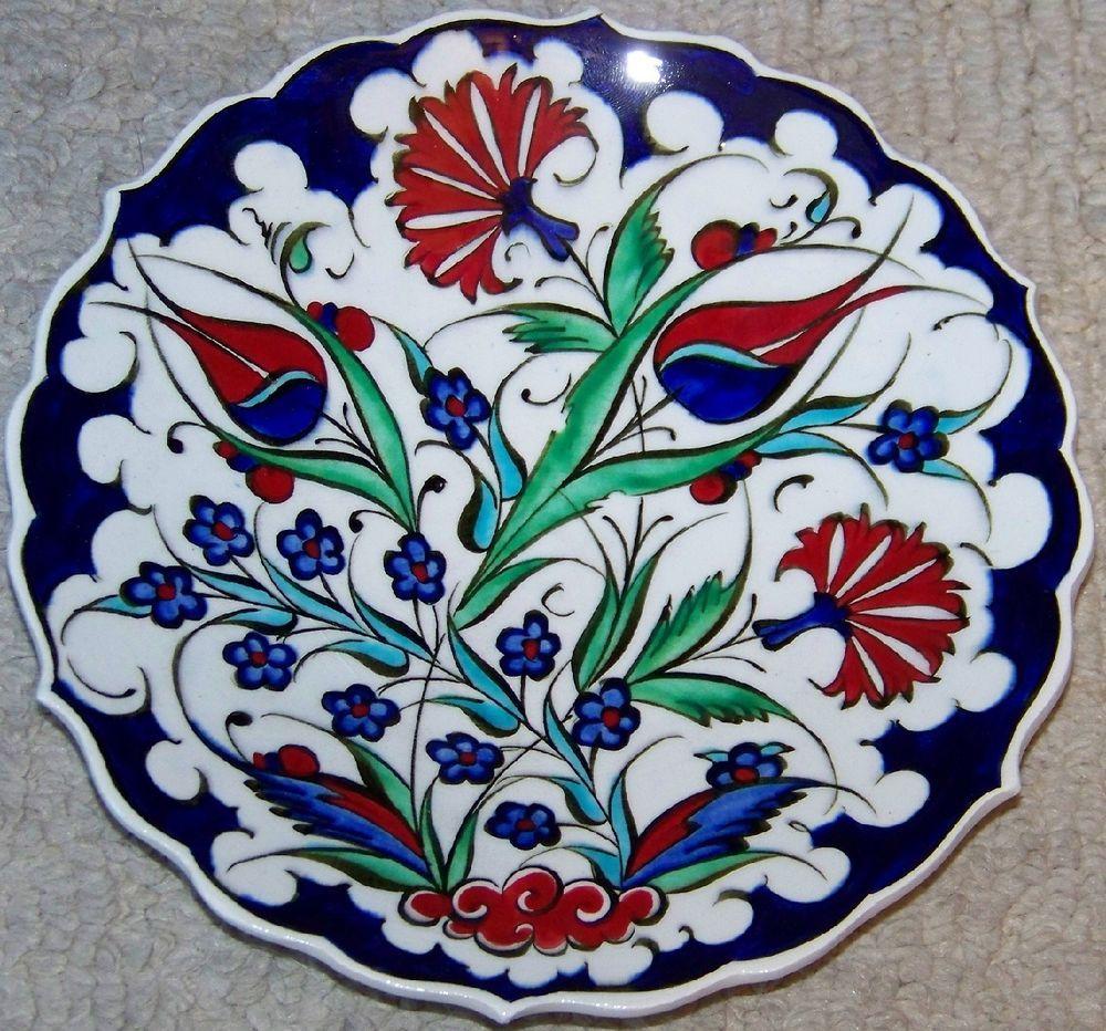 Turkish 7  Handmade Ottoman Iznik Carnation Tulip u0026 Daisy Pattern Ceramic Plate & Turkish 7