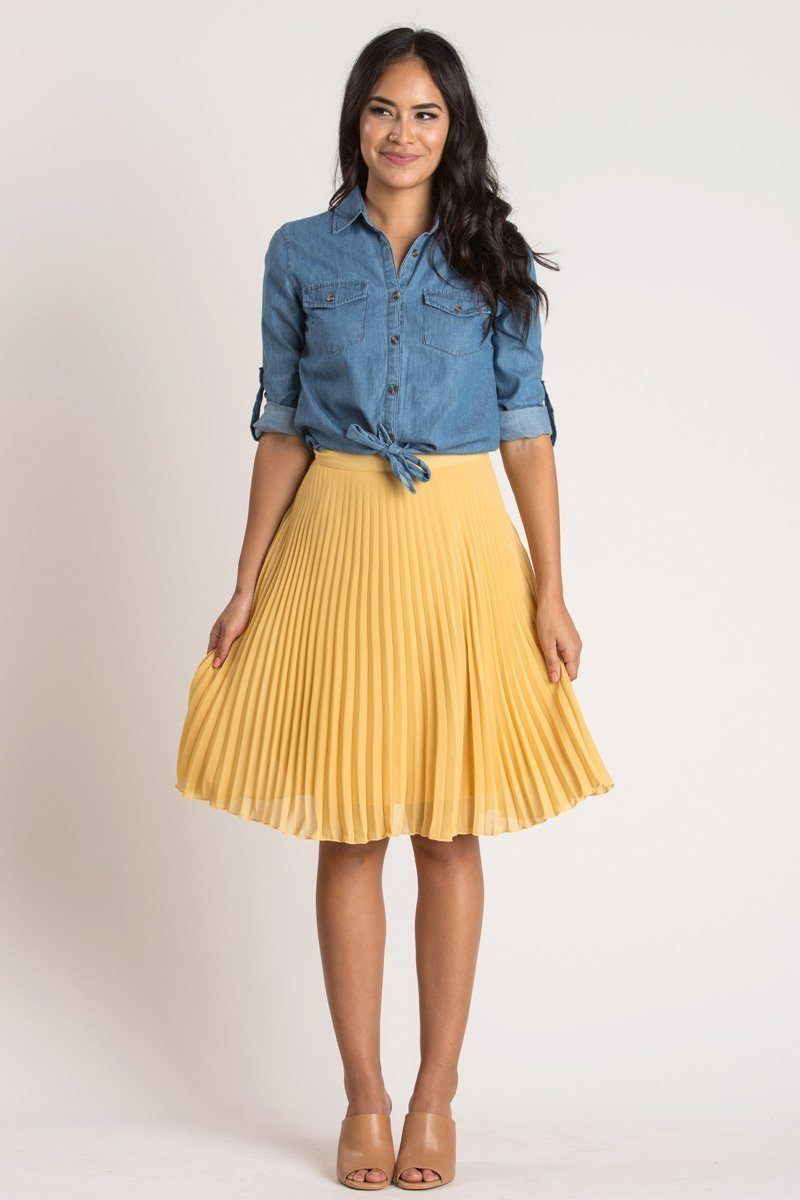 37c2f8612 Petite Camille Mustard Yellow Pleated Midi Skirt - Morning Lavender ...