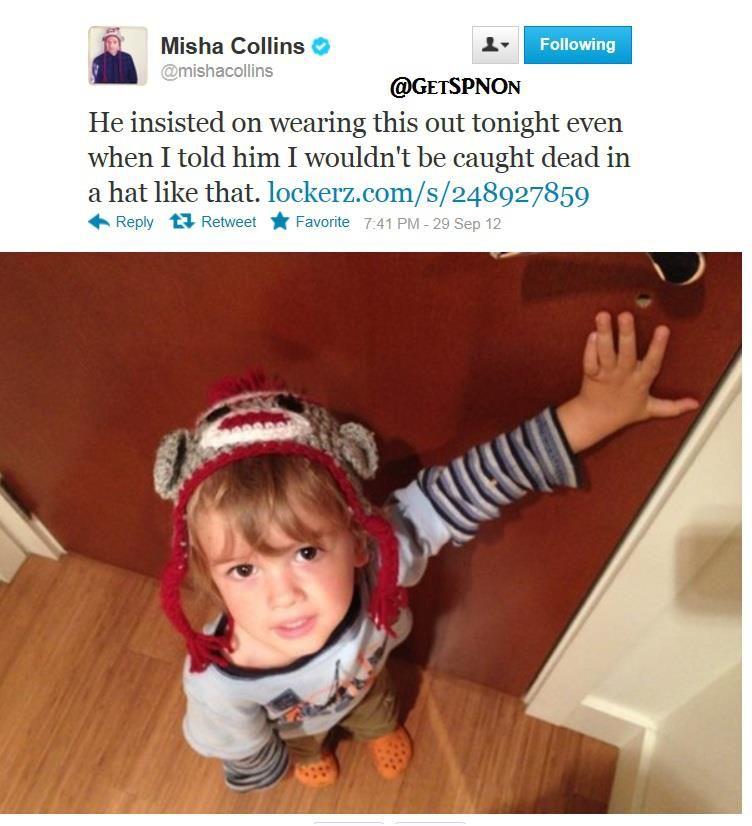 Misha Collins tweets about West Collins ♥  #SPNFamily SPNFans || But the crocs...