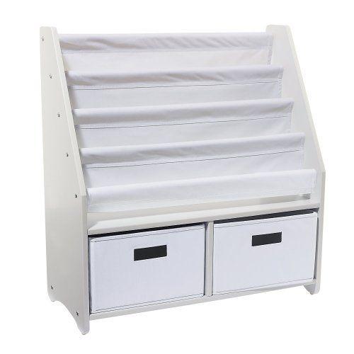 Kids Sling Bookshelf With Storage Bins WHITE One Step Ahead