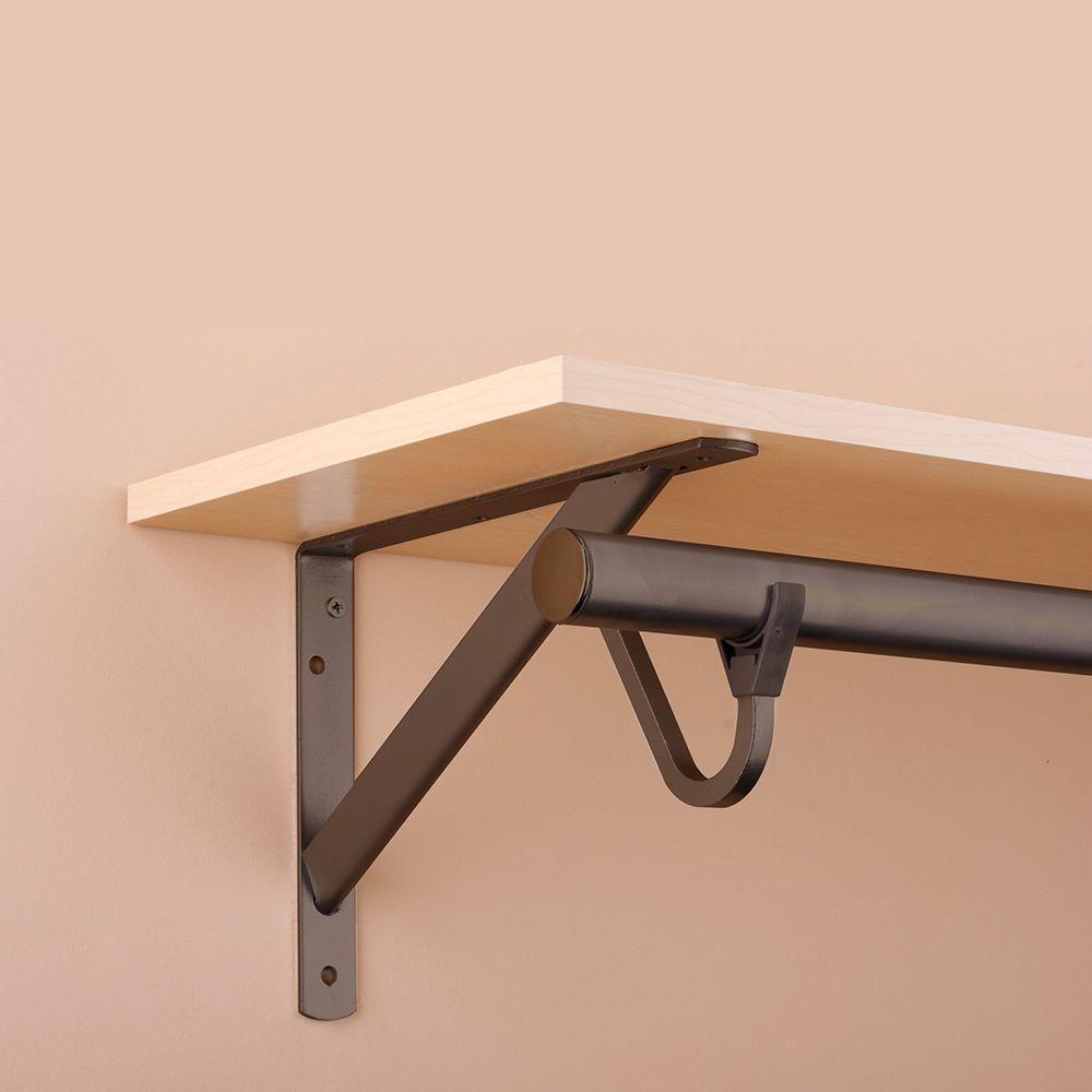 11 1 4 In Heavy Duty Bronze Shelf And Rod Bracket Wooden Closet Shelves Closet Shelves Shelves