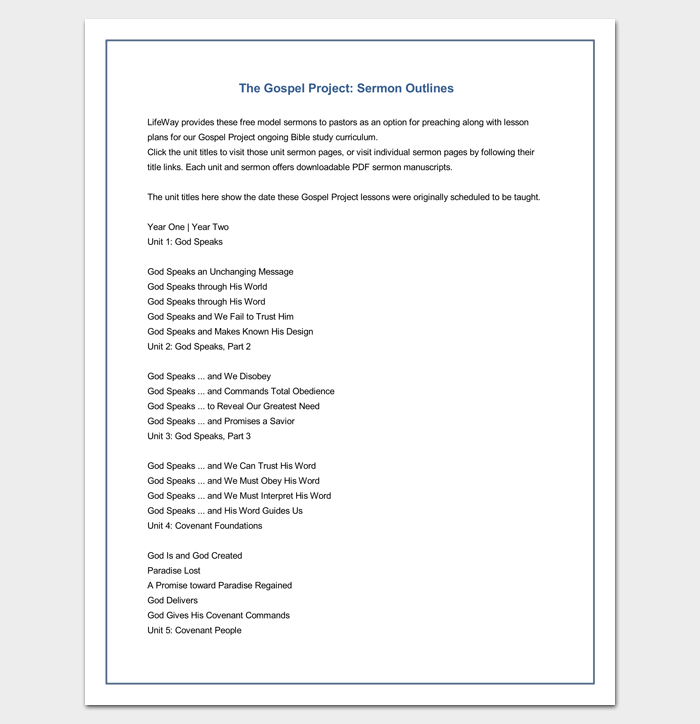 Sermon Outline Template Gospel Project  Outline Templates