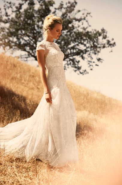 Melissa Sweet Cap Sleeve Illusion Wedding Dress at David\'s Bridal ...