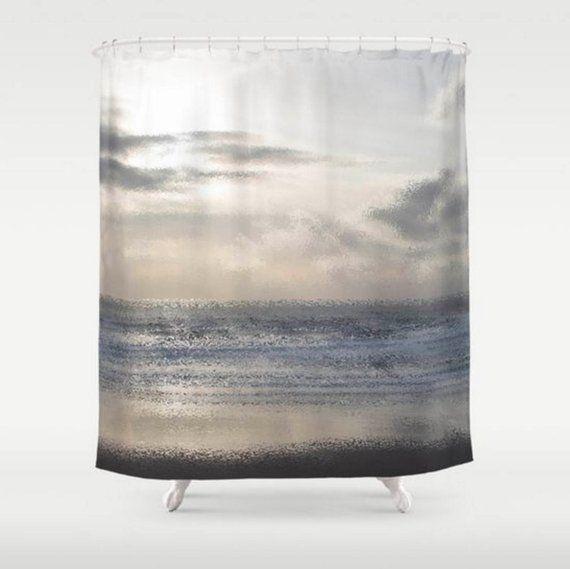 Beach Shower Curtain Ocean Shower Curtain Silver Grey Bathroom