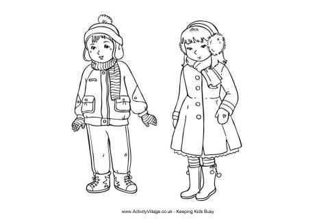 Winter clothes colouring page | Seasons - Winter Activities for Kids ...