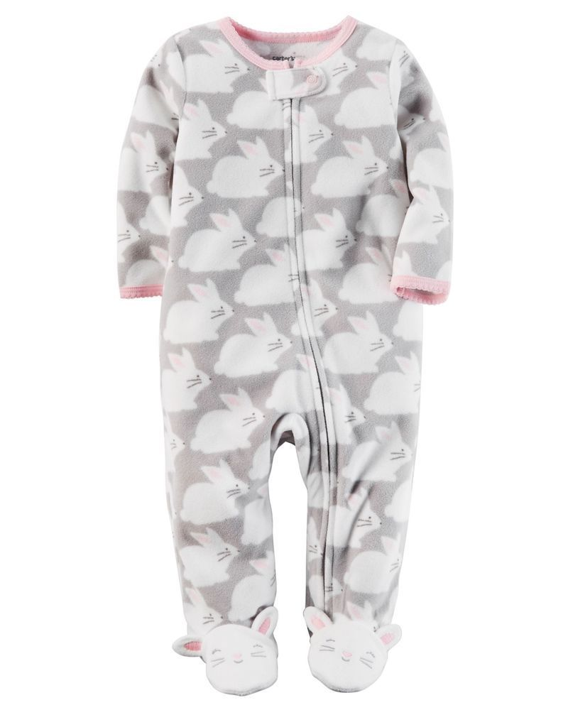 29a841cf1 CARTER S Fleece Bunny Rabbit Feet Zip Up One Piece Pajamas Sleeper ...