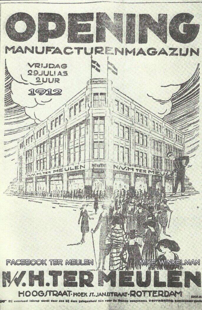 Opening  H Ter Meulen 22 juni 1912 ,in Mei 1940 werd dit pand gebombardeerd . Ter Meulen heeft toen 10 jaar in een noodwinkel gezeten aan de Mathernesserlaan en betrok in 1951 het mooie pand aan de toen nog geheten Binnenweg.