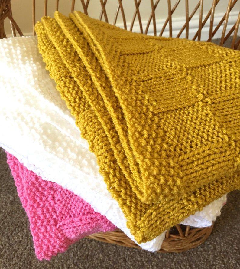 Checks Baby Blanket Knitting pattern Etsy in 2020 Baby
