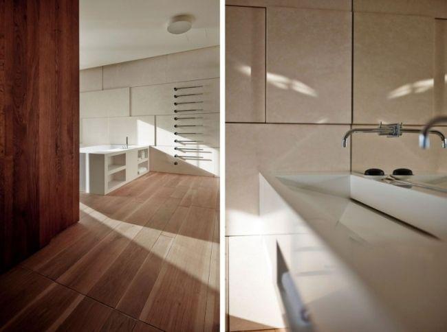 Nuancen von Braun und Grau prägen eine moderne Wohnung in Bratislava ...