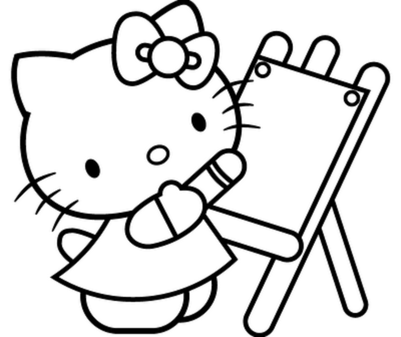 Hello Kitty Preparing To Paint | Hello Kitty Coloring Pages | Pinterest