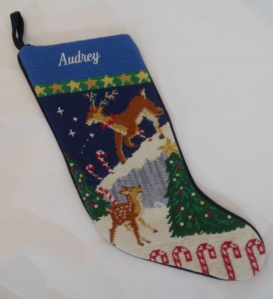 Christmas Stocking Audrey Lands' End Needlepoint Christmas