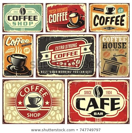 Coffee signs and labels collection. Retro and vintage coffee posters with various coffee cups and coffee beans. Vector illustration.