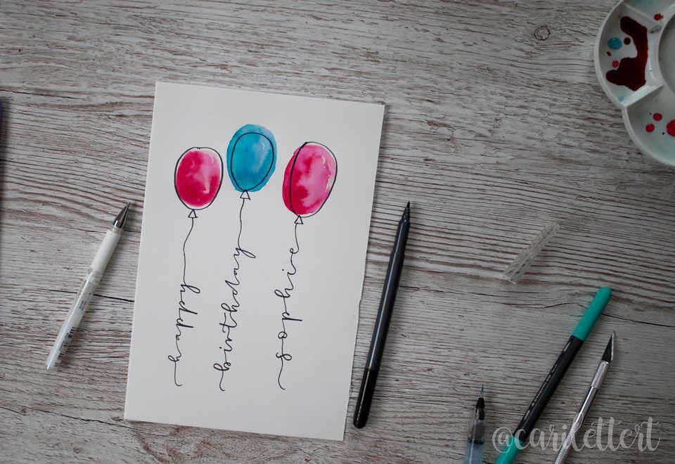 Happy Birthday! DIY Handlettering Geburtstagskarte [inkl. Freebie]